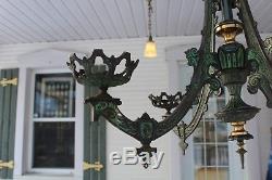 Antique Victorian Cast Iron 4 Arms Oil Lamps Chandelier Eastlake Figural B&h