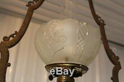 Antique Victorian Cast Iron Hanging Oil Lamp Bracket Oil Lamp Font And Shade