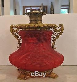 Antique Victorian Cherise Red Primrose Parlor Vase Oil Lamp Circa 1902
