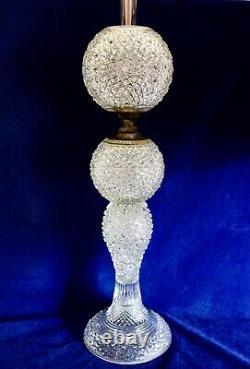 Antique Victorian Cut Glass Banquet Oil Lamp Russian Pattern 31 1/2 tall