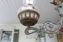 Antique Victorian Double Hanging Oil Lamp Bracket Adjustable With Oil Lamp Font