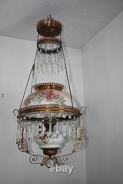 Antique Victorian Drop Down Oil Lamp Chandelier Porcelain Globe Crystals