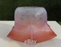Antique Victorian Etched Cranberry Glass Oil/Gas Lamp Shade/Globe, 4 1/4 fitter