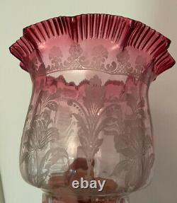 Antique Victorian Etched Glass Oil Lamp Shade Cranberry