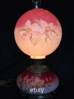 Antique Victorian FOSTORIA GLASS Hand Painted Kerosene Oil Lamp Banquet GWTW