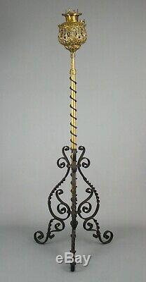 Antique Victorian Floor Lamp, Bradley & Hubbard, Brass & Wrought Iron, 19th C