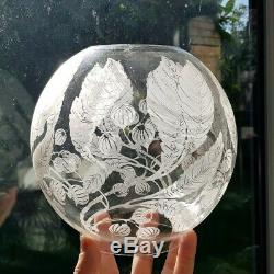 Antique Victorian Floral Glass Acid Etched Globe ball Oil Lamp Shade 4 ins Clear