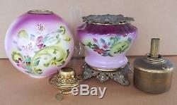 Antique Victorian GWTW FOSTORIA Kerosene Oil Lamp Purple Apple Blossom Flowers