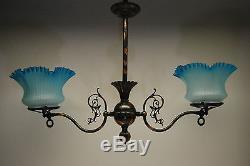 Antique Victorian Glass Gas Chandelier Old Eapg Hanging Oil Kerosene Lamp Gwtw
