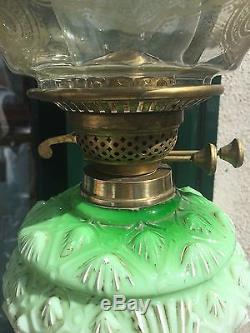 Antique Victorian Green Oil Lamp