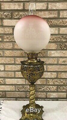 Antique Victorian Gwtw Oil Lamp Cranberry Torch Wreath Brass Edward Miller Juno
