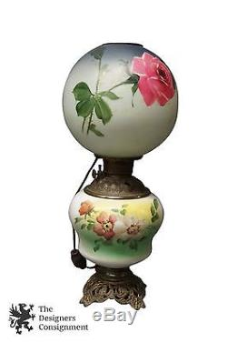 Antique Victorian Hand Painted 22 Gone with the Wind Converted Oil Table Lamp