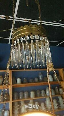 Antique Victorian Hanging Brass Parlor Kerosene Oil Lamp electric converted