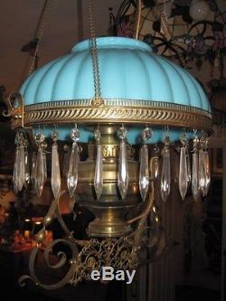 Antique Victorian Hanging Oil/Kerosene Lamp BLUE shade