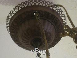 Antique Victorian Hanging Oil/Kerosene Lamp with floral shade