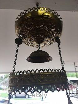 Antique Victorian Hanging Oil Lamp