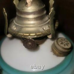 Antique Victorian Hanging Oil Lamp Chandelier Glass Shade Prisms