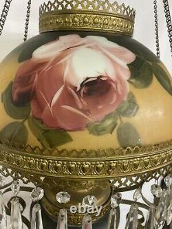 Antique Victorian Hanging Oil Lamp GWTW Converted Electric Rose Painted Shades