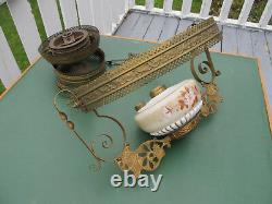 Antique Victorian Hanging Oil Lamp with Matching Painted Floral Font & Shade