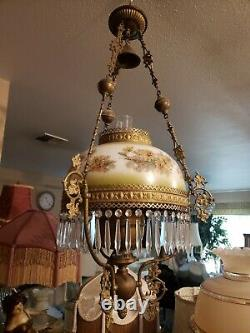 Antique Victorian Hanging Oil Lamp with Prisms