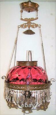 Antique Victorian Hanging Parlor Oil Lamp Cranberry Bullseye Shade Jewel Frame