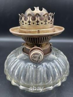 Antique Victorian Hinks's No. 2 Duplex Oil Lamp Burner & Clear Cut Glass Font