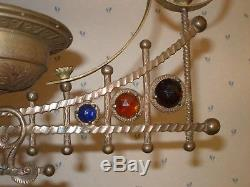 Antique Victorian Jeweled Library Hanging Oil Lamp Frame Brass Parts