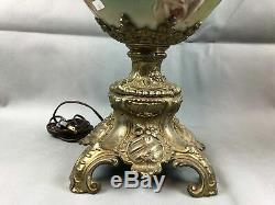 Antique Victorian Jumbo GWTW Parlor Banquet Electrified Oil Lamp