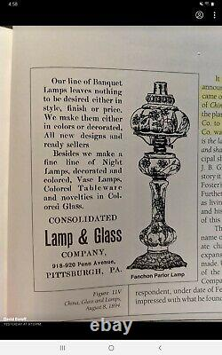 Antique Victorian Kerosene Banquet Lamp Consolidated Glass co. Pittsburgh