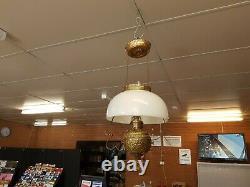 Antique Victorian Miller Hanging Oil Lamp Kerosene Brass Milk Glass Shade Parlor