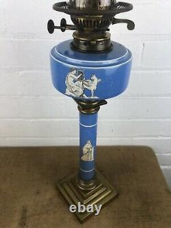 Antique Victorian Oil Lamp Blue Porcelain Amphora Style Column and Font