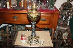 Antique Victorian Oil Lamp Converted Electric Angels Cherubs Gilded Gold Metal