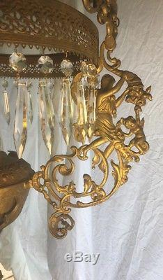 Antique Victorian Ornate Art Deco Brass Hanging Oil/Kerosene Lamp Electric Works