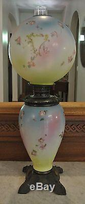 Antique Victorian Parlor Gone With The Wind American Eureka Oil Hurricane Lamp