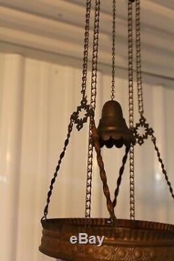 Antique Victorian Parlor Hanging Oil Lamp With Swirl Cranbery Opalescent Shade
