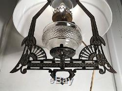 Antique Victorian Parlor Library Hanging Oil Lamp Chandelier Bradley & Hubbard