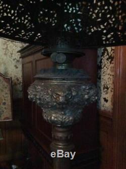 Antique Victorian Piano Parlor Lamp W Ornate Marble Stand & Great Shade