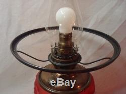 Antique Victorian Pittsburgh SUCCESS Red Satin Glass GWTW Oil Lamp. No Reserve