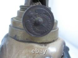 Antique Victorian Pug Dog China Oil Lamp with Glass Eyes
