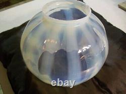 Antique Victorian Vaseline Opalescent Swirl Uranium Glass Oil/gas Lamp Shade