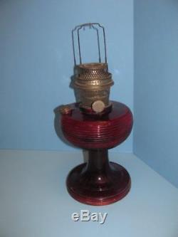 Antique Vintage Ruby Red Beehive Oil Kerosene Lamp Aladdin Nu-type Model B