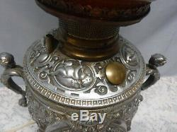 Antique Vtg Cherub Font Electric Oil Lamp with Handles Round Globe Shade
