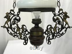 Antique Vtg Hanging Oil Lamp Chandelier PIED PIPER Children Country Store Wood