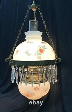 Antique Vtg Hanging Oil Lamp Floral Glass Shade & Crystals GWTW Light Bohemian