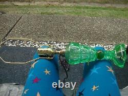 Antique Vtg Match Set Vaseline Uranium Glass Sandwich Oil Lamps UV Glow
