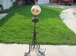 Antique WROUGHT IRON Oil Floor Lamp extends Hand Painted Shade 1895