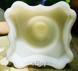 Antique Whale/Kerosene Oil Lamp Purple/Amethyst Glass Slag Glass Stem
