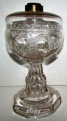 Antique Wheat In Shield EAPG Clear Glass Oil / Kerosene Stand Lamp 1871 THURO