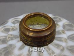 Antique White Opalescent'eason' Footed Finger Kerosene Oil Lamp Strong Color
