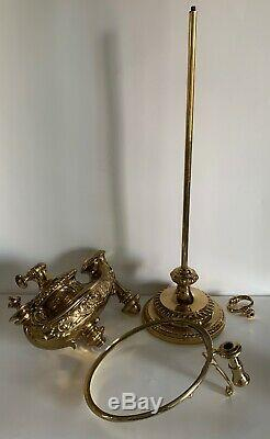Antique Wild & Wessel W&W 1373 P&A Harvard Student Brass Oil Lamp